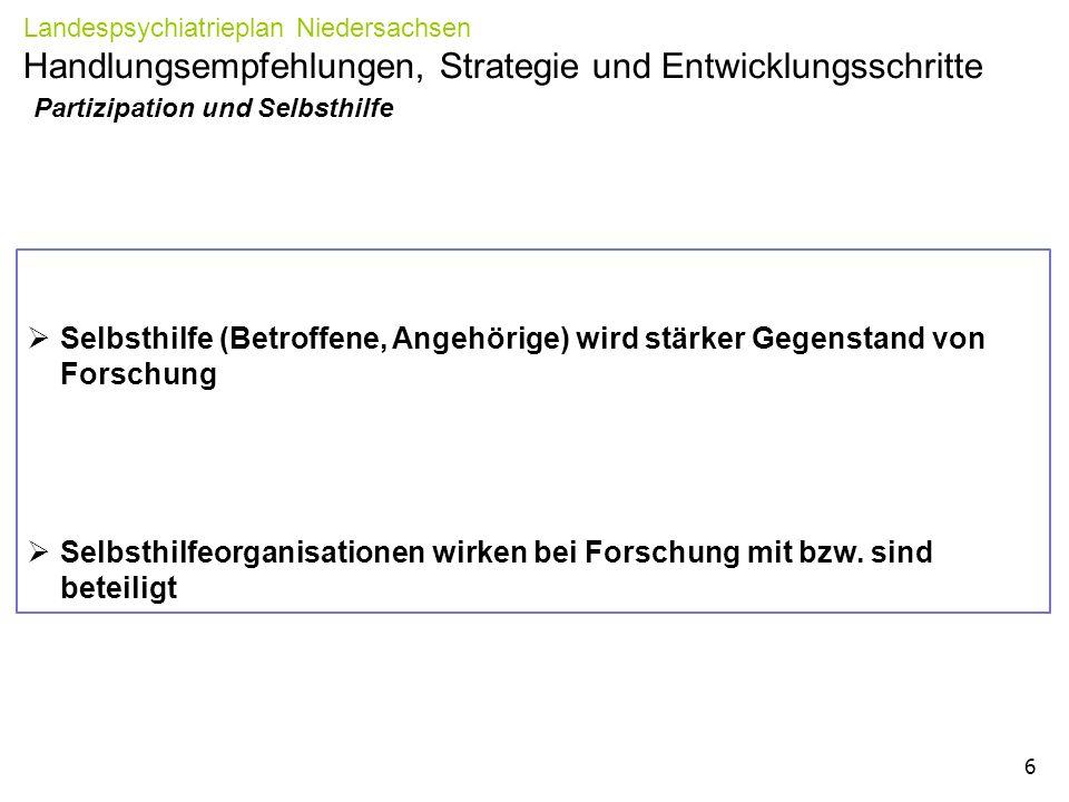 Partizipation und Selbsthilfe Landespsychiatrieplan Niedersachsen Handlungsempfehlungen, Strategie und Entwicklungsschritte 6  Selbsthilfe (Betroffene, Angehörige) wird stärker Gegenstand von Forschung  Selbsthilfeorganisationen wirken bei Forschung mit bzw.