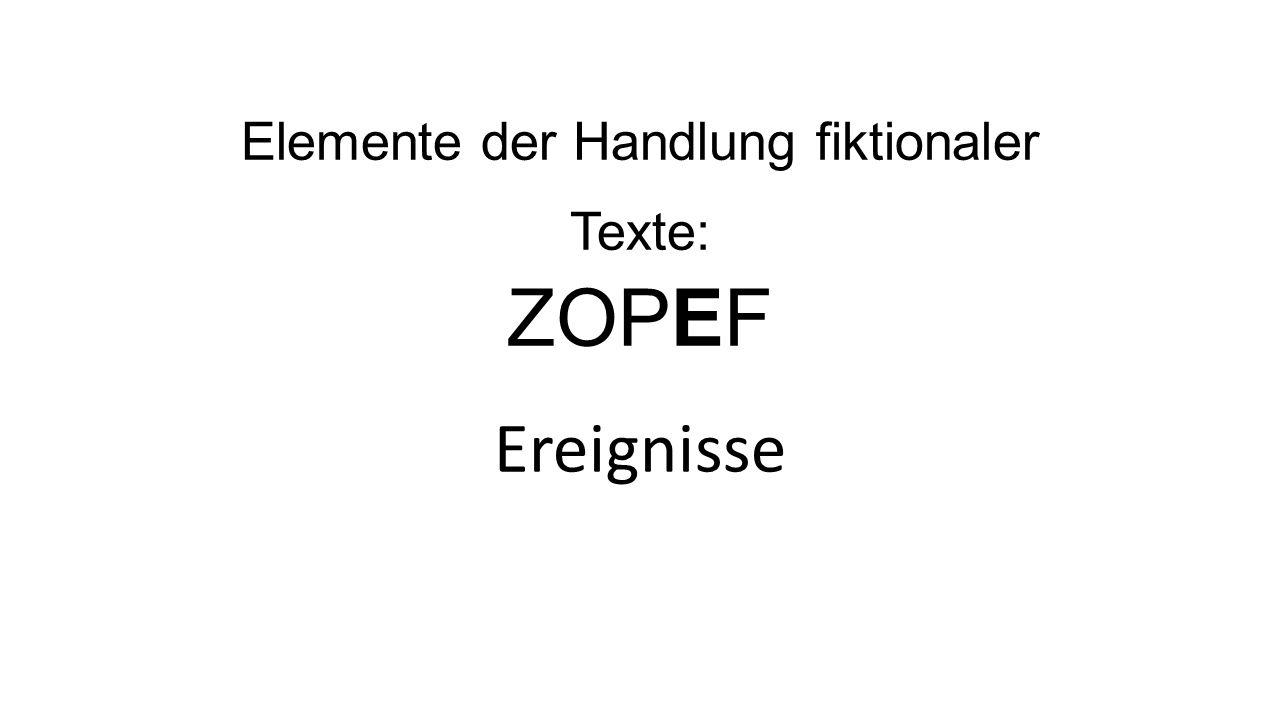 Elemente der Handlung fiktionaler Texte: ZOPEF Ereignisse