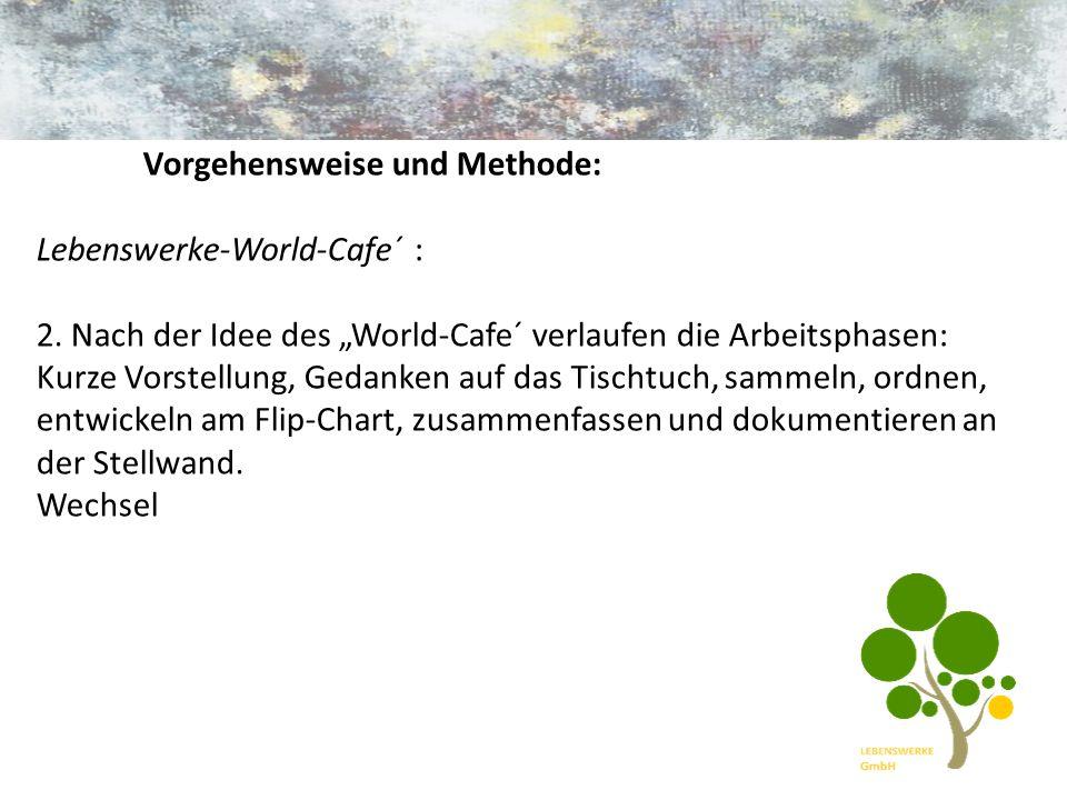 Vorgehensweise und Methode: Lebenswerke-World-Cafe´ : 2.