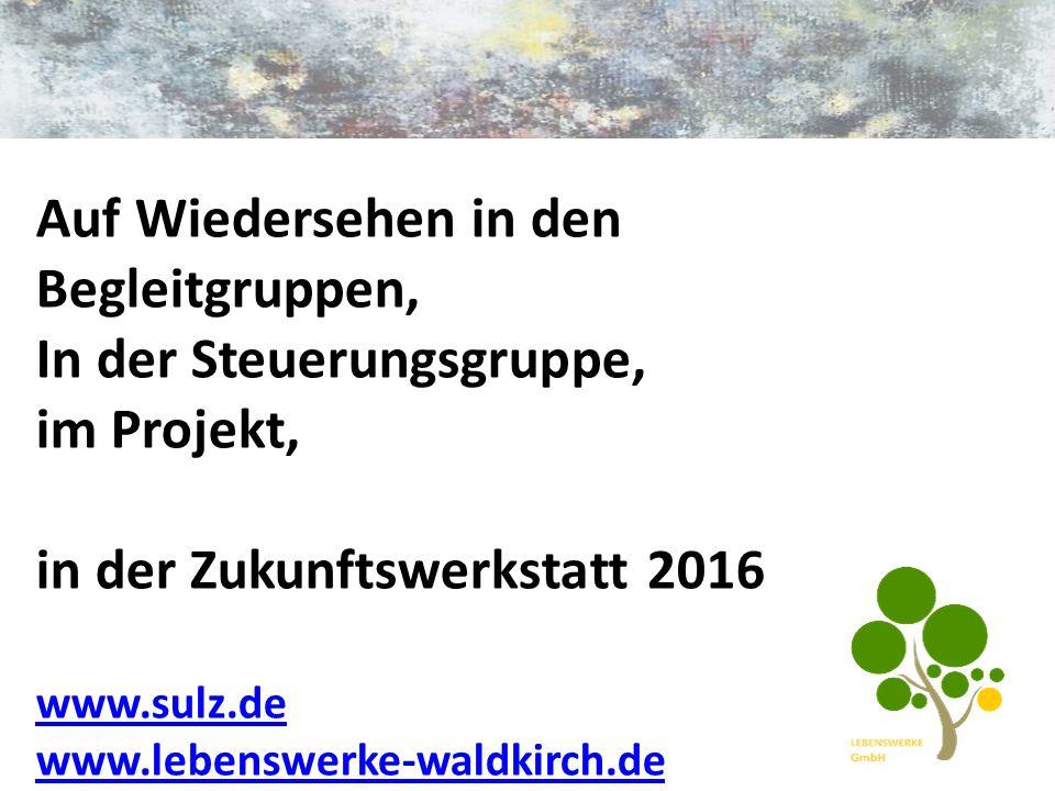 Auf Wiedersehen in den Begleitgruppen, In der Steuerungsgruppe, im Projekt, in der Zukunftswerkstatt 2016 www.sulz.de www.lebenswerke-waldkirch.de