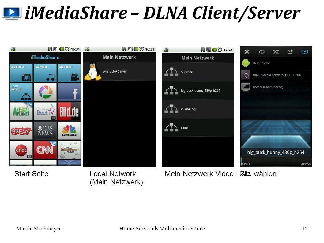 Martin StrohmayerHome-Server als Multimediazentrale 17 iMediaShare – DLNA Client/Server Local Network (Mein Netzwerk) Mein Netzwerk Video Liste Ziel wählen Start Seite