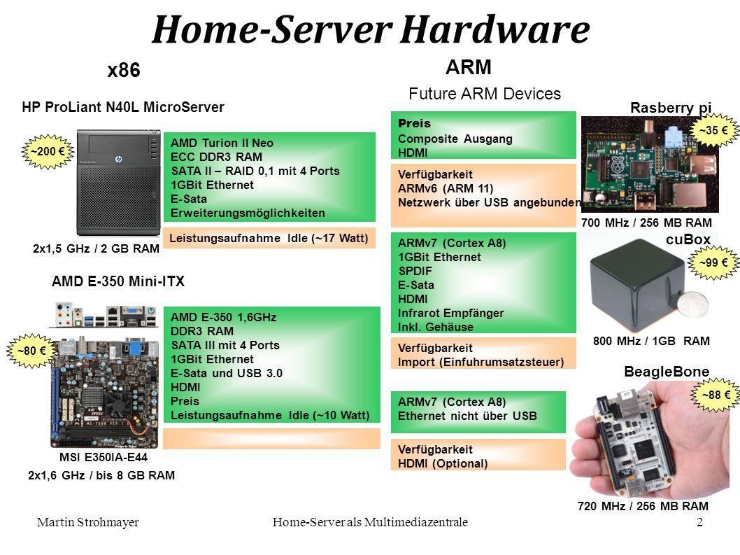 Martin StrohmayerHome-Server als Multimediazentrale 2 x86 AMD E-350 Mini-ITX Home-Server Hardware ARM HP ProLiant N40L MicroServer MSI E350IA-E44 Future ARM Devices AMD Turion II Neo ECC DDR3 RAM SATA II – RAID 0,1 mit 4 Ports 1GBit Ethernet E-Sata Erweiterungsmöglichkeiten AMD E-350 1,6GHz DDR3 RAM SATA III mit 4 Ports 1GBit Ethernet E-Sata und USB 3.0 HDMI Preis Leistungsaufnahme Idle (~10 Watt) Leistungsaufnahme Idle (~17 Watt) Preis Composite Ausgang HDMI Verfügbarkeit ARMv6 (ARM 11) Netzwerk über USB angebunden ARMv7 (Cortex A8) 1GBit Ethernet SPDIF E-Sata HDMI Infrarot Empfänger Inkl.