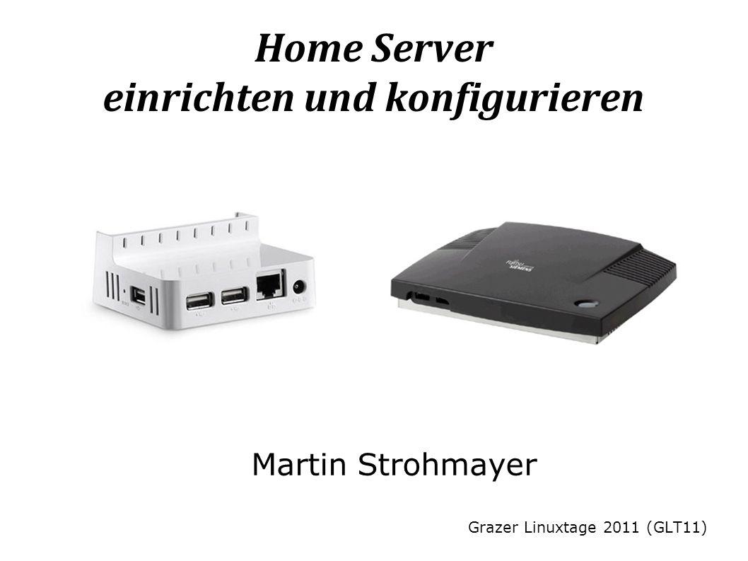 Martin StrohmayerHome Server einrichten und konfigurieren 12 HTTP/FTP:Übliche Internet Protokolle eDonkey2000:P2P Protokoll Dateisuche im Client möglich Alle Downloads werden zum Upload freigegeben BitTorrent:P2P Protokoll Keine Dateisuche im Client Download wird zum Upload freigegeben Youtube:Video Download Verschieden Codecs/Container Formate (FLV, MP4, WebM, 3GP) Verschiedene Video Auflösungen (176x144 - 1920x1080) Sharehoster:HTTP Download (kein P2P System) Beispiel: rapidshare.com megaupload.com storeplace.to Keine Suche möglich Aufteilung in Free und Premium (kostenpflichtig) Zugang/Dienst Downloads im Internet http://storeplace.to/?d=C2B0C3A314