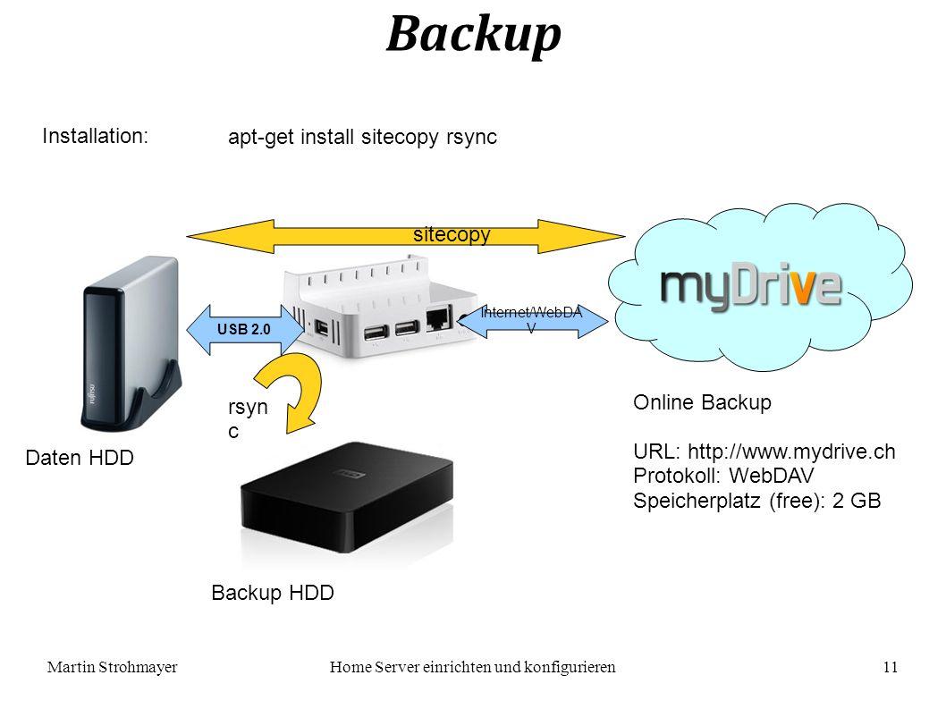 Martin StrohmayerHome Server einrichten und konfigurieren 11 Backup Installation: apt-get install sitecopy rsync USB 2.0 Internet/WebDA V Daten HDD Backup HDD Online Backup URL: http://www.mydrive.ch Protokoll: WebDAV Speicherplatz (free): 2 GB sitecopy rsyn c