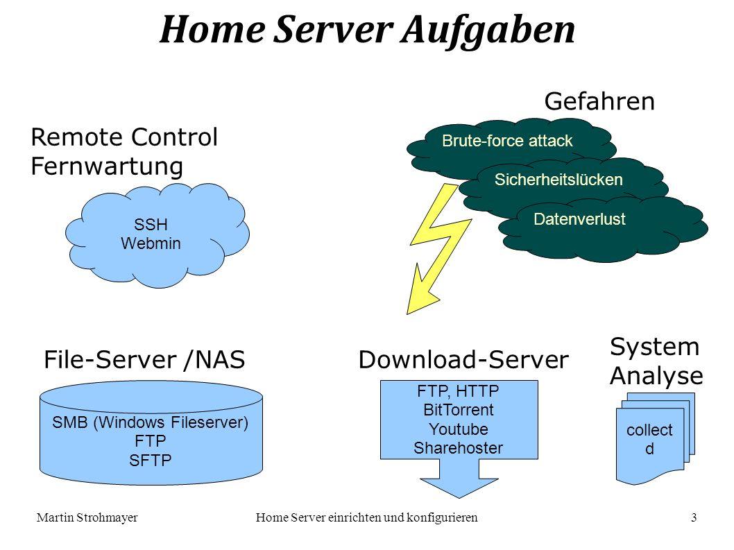 Martin StrohmayerHome Server einrichten und konfigurieren 4 Remote Control / Fernwartung apt-get install ssh wget http://prdownloads.sourceforge.net/webadmin/webmin_1.530_all.deb dpkg -i webmin_1.530_all.deb apt-get -f install /etc/ssh/sshd_config LoginGraceTime 120 PermitRootLogin no AllowUsers sshuser Port 1022