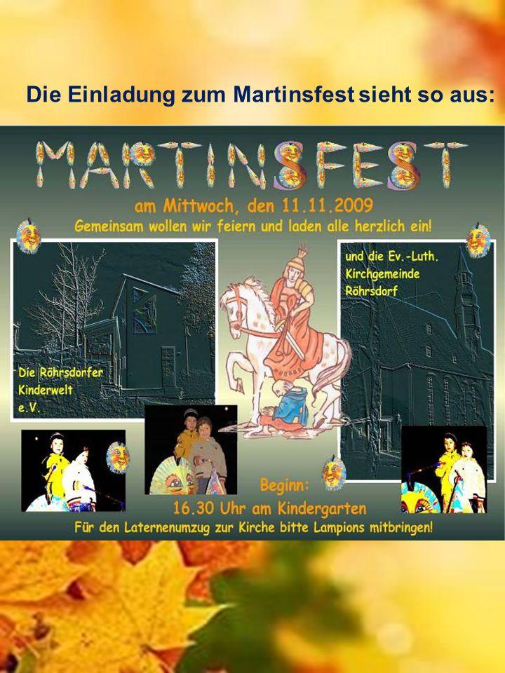 Die Einladung zum Martinsfest sieht so aus: