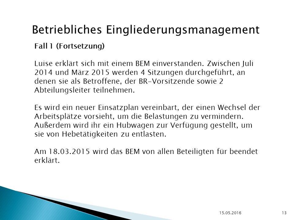 15.05.2016 13 Betriebliches Eingliederungsmanagement Fall 1 (Fortsetzung) Luise erklärt sich mit einem BEM einverstanden.