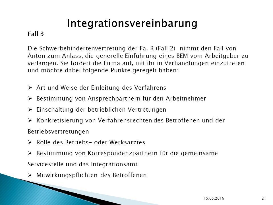 15.05.2016 21 Integrationsvereinbarung Fall 3 Die Schwerbehindertenvertretung der Fa.