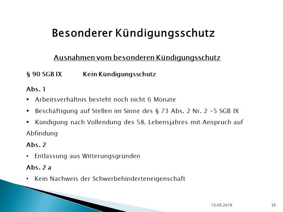 15.05.2016 35 Besonderer Kündigungsschutz Ausnahmen vom besonderen Kündigungsschutz § 90 SGB IX Kein Kündigungsschutz Abs.