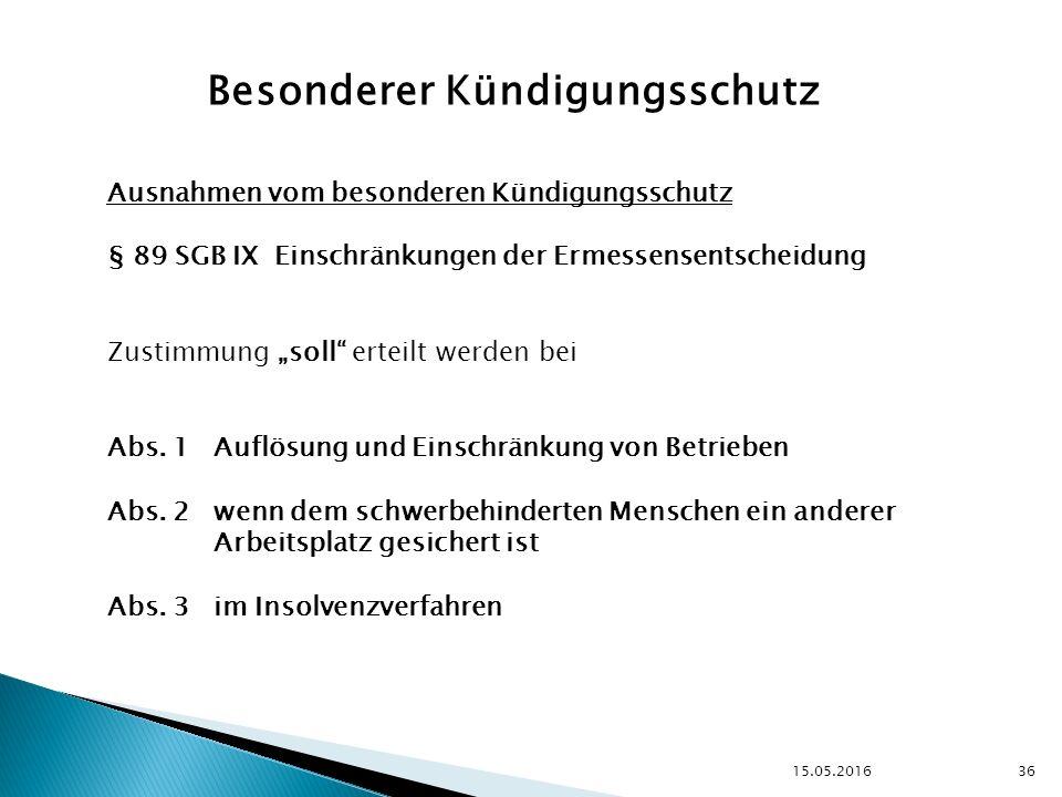 """15.05.2016 36 Besonderer Kündigungsschutz Ausnahmen vom besonderen Kündigungsschutz § 89 SGB IX Einschränkungen der Ermessensentscheidung Zustimmung """"soll erteilt werden bei Abs."""
