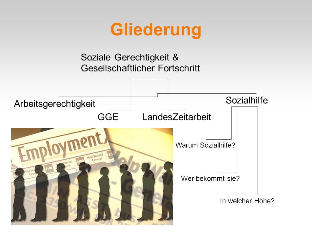 Gliederung Arbeitsgerechtigkeit GGELandesZeitarbeit Sozialhilfe Soziale Gerechtigkeit & Gesellschaftlicher Fortschritt Wer bekommt sie.