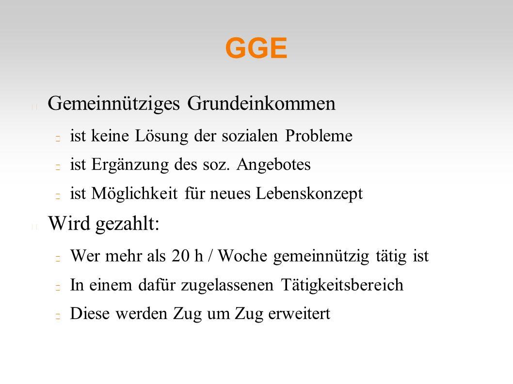 GGE Gemeinnütziges Grundeinkommen ist keine Lösung der sozialen Probleme ist Ergänzung des soz.