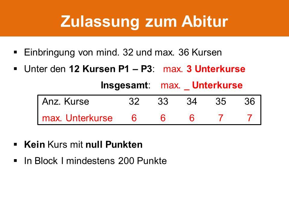  Einbringung von mind. 32 und max. 36 Kursen  Unter den 12 Kursen P1 – P3: max.