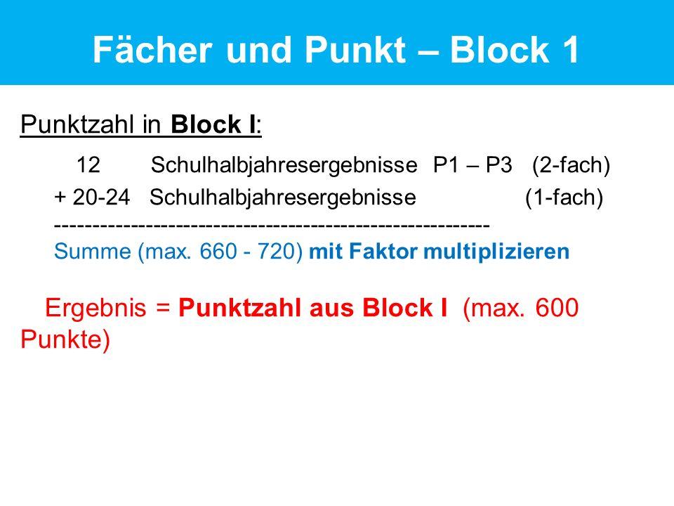 Punktzahl in Block I: 12 Schulhalbjahresergebnisse P1 – P3 (2-fach) + 20-24 Schulhalbjahresergebnisse (1-fach) ---------------------------------------------------------- Summe (max.