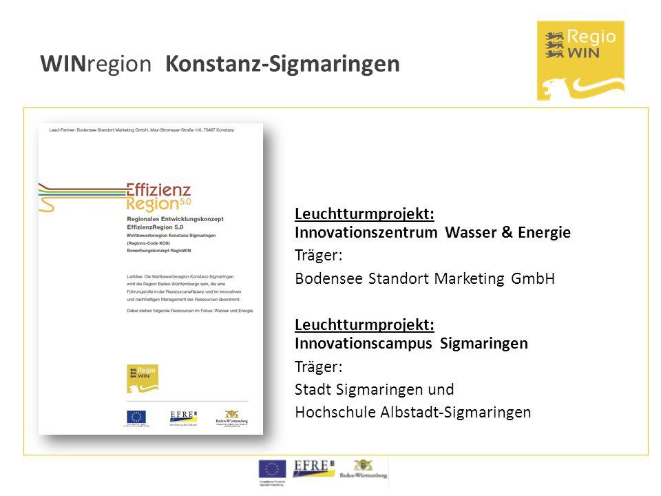 WINregion Konstanz-Sigmaringen Leuchtturmprojekt: Innovationszentrum Wasser & Energie Träger: Bodensee Standort Marketing GmbH Leuchtturmprojekt: Inno