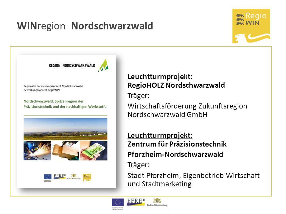 WINregion Nordschwarzwald Leuchtturmprojekt: RegioHOLZ Nordschwarzwald Träger: Wirtschaftsförderung Zukunftsregion Nordschwarzwald GmbH Leuchtturmproj