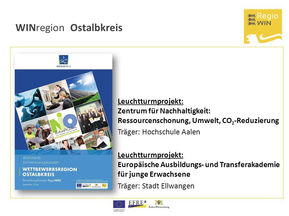 WINregion Ostalbkreis Leuchtturmprojekt: Zentrum für Nachhaltigkeit: Ressourcenschonung, Umwelt, CO 2 -Reduzierung Träger: Hochschule Aalen Leuchtturm