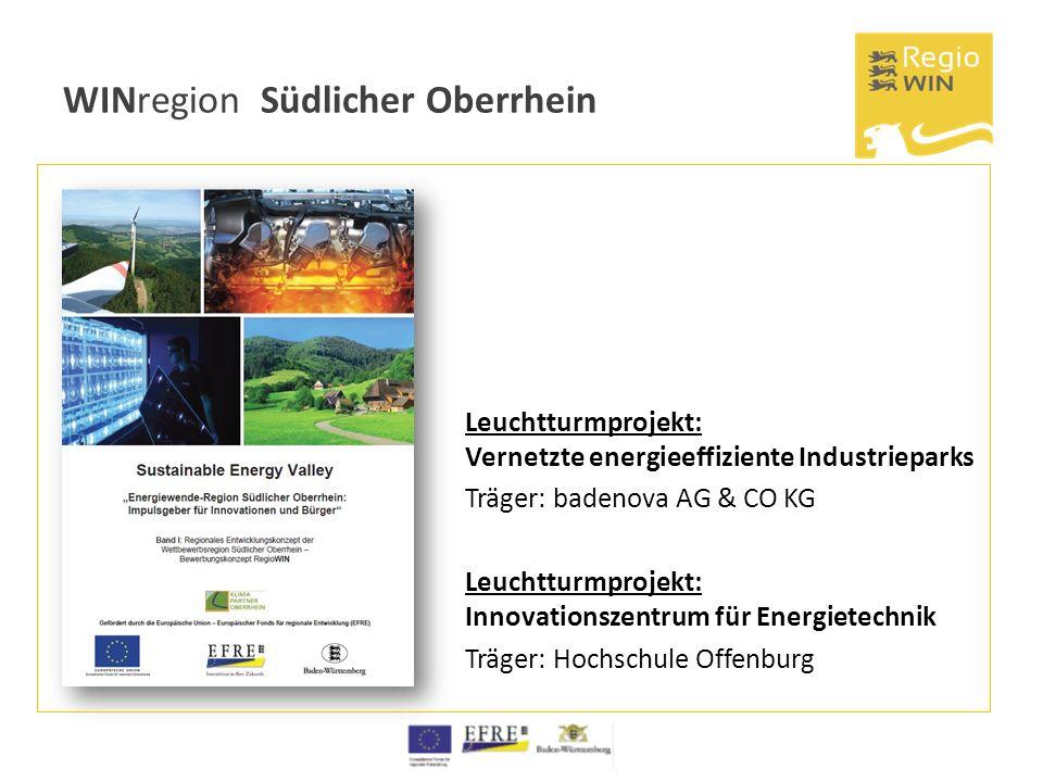 WINregion Südlicher Oberrhein Leuchtturmprojekt: Vernetzte energieeffiziente Industrieparks Träger: badenova AG & CO KG Leuchtturmprojekt: Innovations