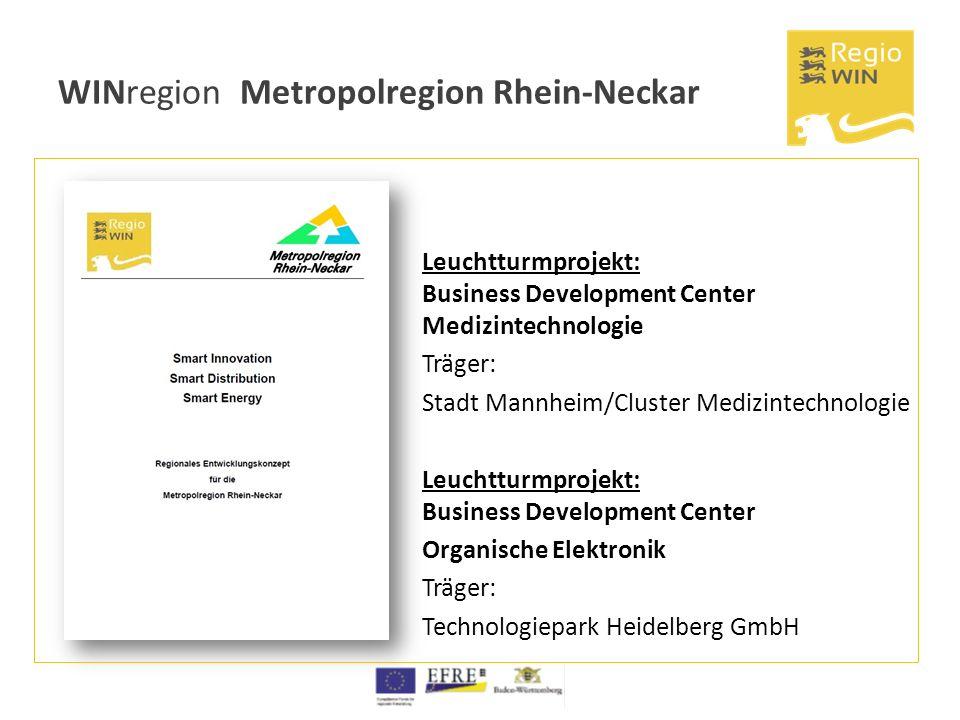 WINregion Metropolregion Rhein-Neckar Leuchtturmprojekt: Business Development Center Medizintechnologie Träger: Stadt Mannheim/Cluster Medizintechnolo