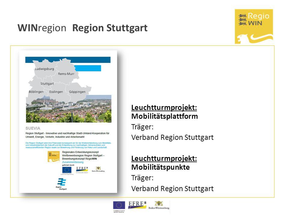 WINregion Region Stuttgart Leuchtturmprojekt: Mobilitätsplattform Träger: Verband Region Stuttgart Leuchtturmprojekt: Mobilitätspunkte Träger: Verband