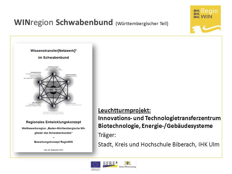 WINregion Schwabenbund (Württembergischer Teil) Leuchtturmprojekt: Innovations- und Technologietransferzentrum Biotechnologie, Energie-/Gebäudesysteme