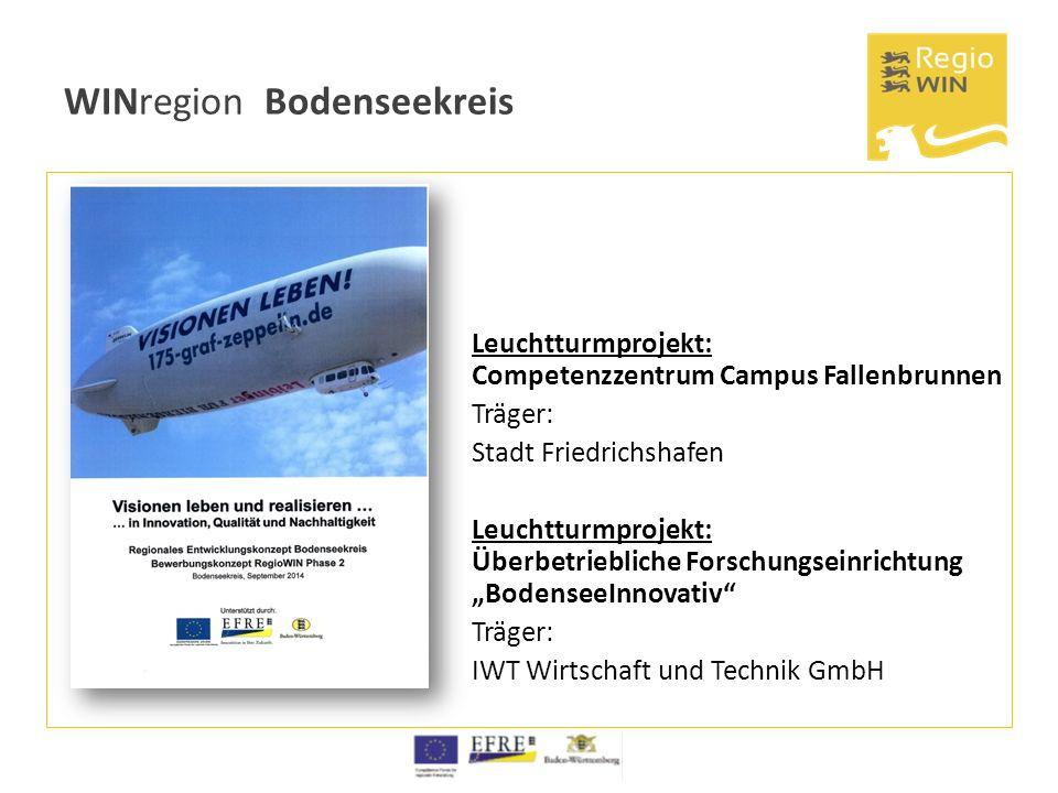 WINregion Bodenseekreis Leuchtturmprojekt: Competenzzentrum Campus Fallenbrunnen Träger: Stadt Friedrichshafen Leuchtturmprojekt: Überbetriebliche For