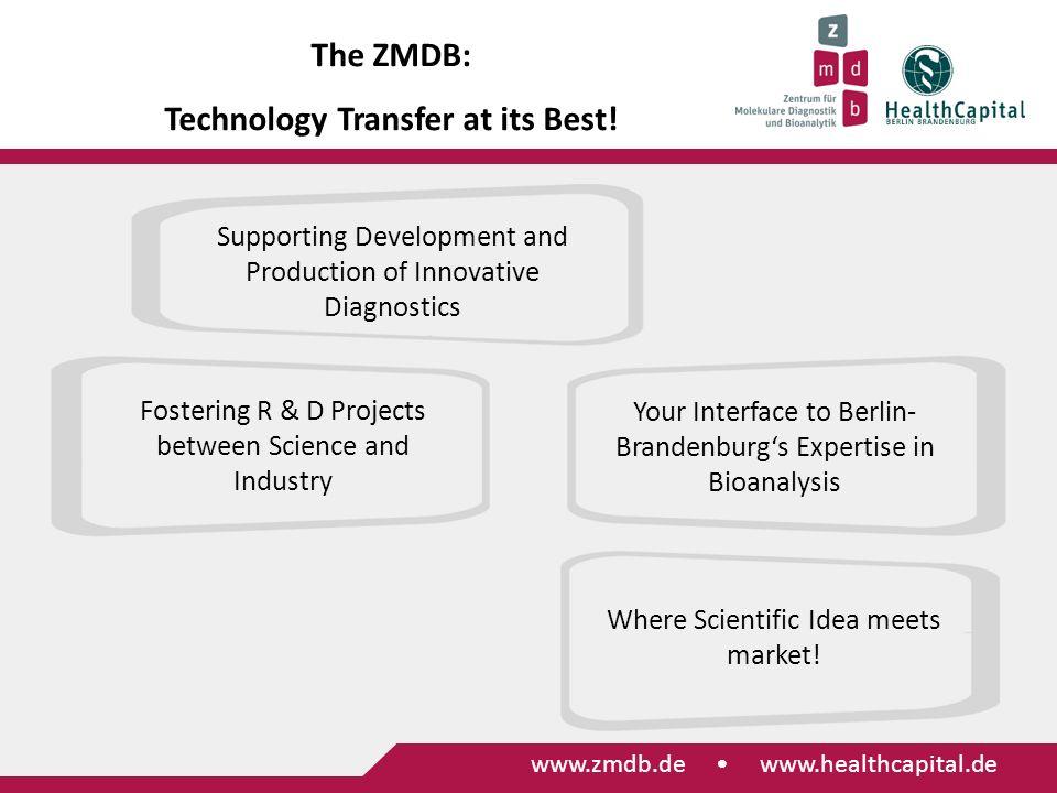 www.zmdb.de Identifizierung von Transferprojekten Internationalisierung Informationsaustausch zwischen Wissenschaft und Wirtschaft Standortmarketing www.zmdb.de www.healthcapital.de The ZMDB: Technology Transfer at its Best.