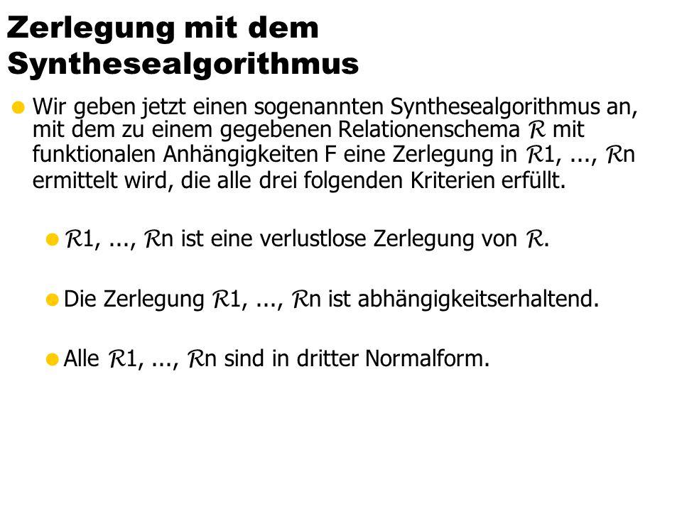 Beispiel: Keine 3NF (aber in 2NF) Landesregierung Rang Name Straße Ort BLand PersNr Raum Vorwahl PLZ EW