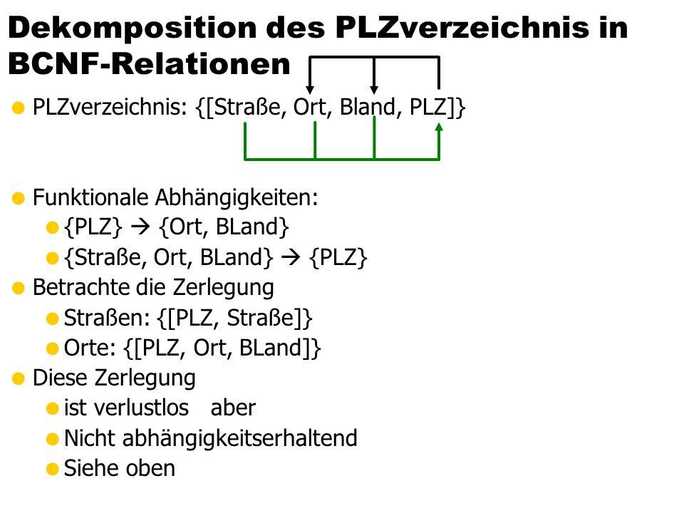 Dekomposition der Relation Städte in BCNF-Relationen  Städte: {[Ort, BLand, Ministerpräsident/in, EW]}  Geltende FDs:  {BLand}  {Ministerpräsident