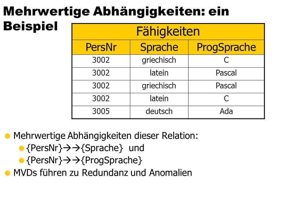Mehrwertige Abhängigkeiten  A  B  A  C R ABC abc abbcc abbc abcc
