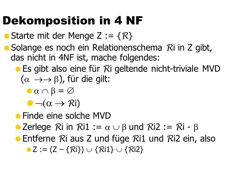 Vierte Normalform  Eine Relation R ist in 4 NF wenn für jede MVD    eine der folgenden Bedingungen gilt:  Die MVD ist trivial oder   ist Super