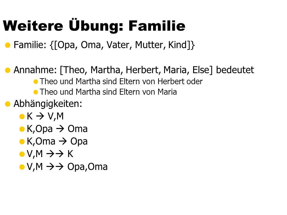 Weitere Übung: Familie  Familie: {[Opa, Oma, Vater, Mutter, Kind]}  Annahme: [Theo, Martha, Herbert, Maria, Else] bedeutet  Theo und Martha sind El