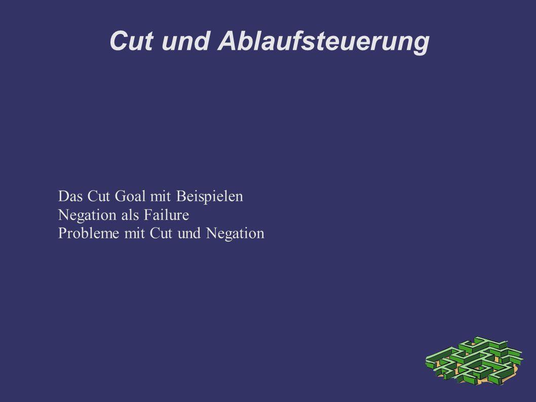Cut und Ablaufsteuerung Das Cut Goal mit Beispielen Negation als Failure Probleme mit Cut und Negation Das Cut Goal mit Beispielen Negation als Failure Probleme mit Cut und Negation