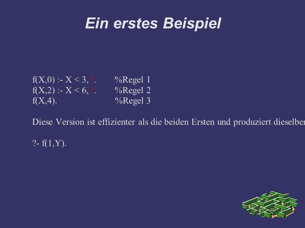 Ein erstes Beispiel f(X,0) :- X < 3, !. %Regel 1 f(X,2) :- X < 6, !.