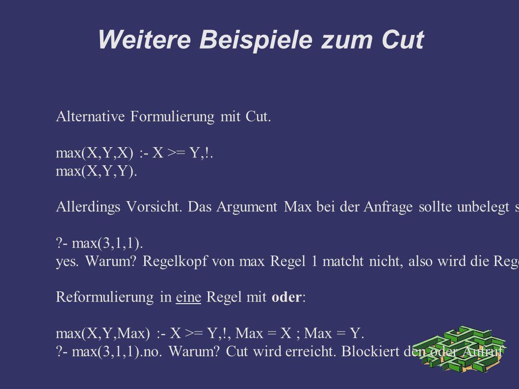 Weitere Beispiele zum Cut Alternative Formulierung mit Cut.