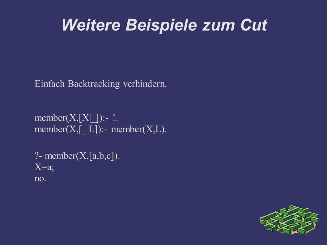 Weitere Beispiele zum Cut Einfach Backtracking verhindern.