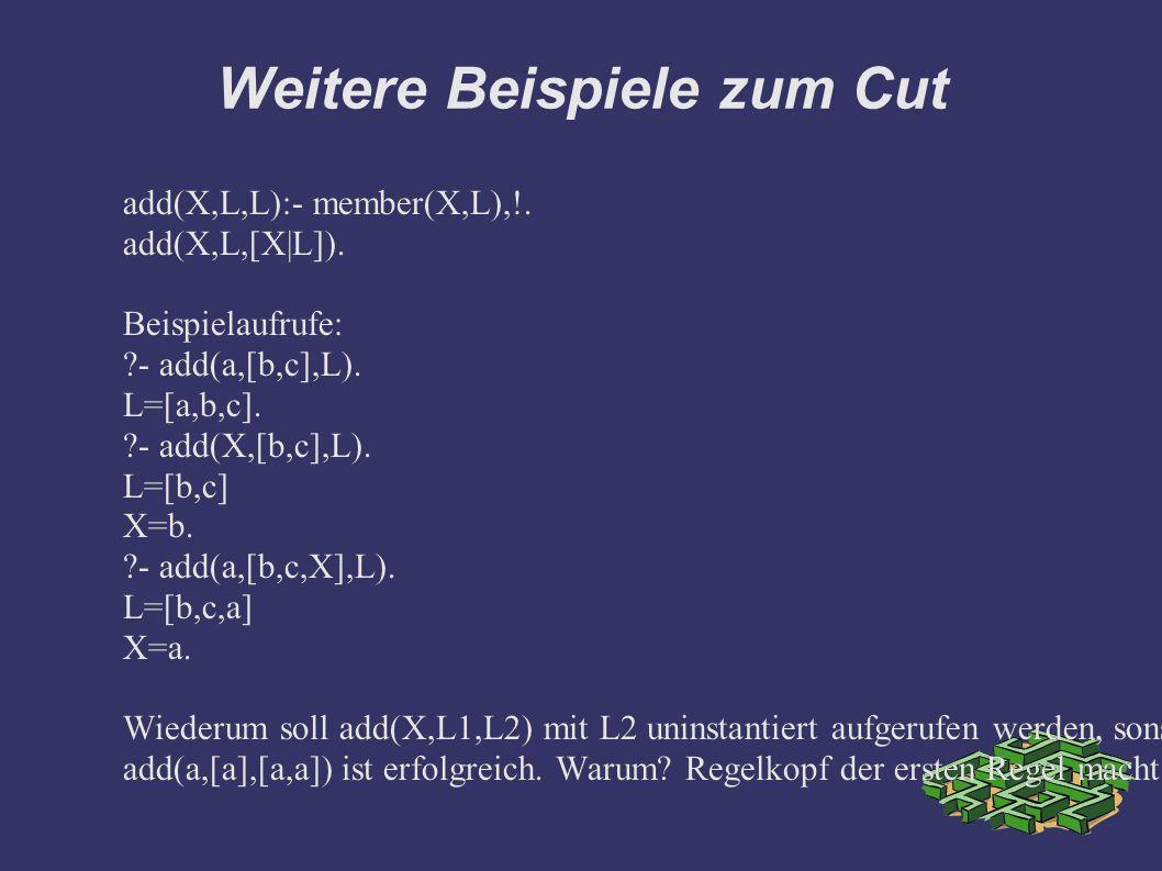Weitere Beispiele zum Cut add(X,L,L):- member(X,L),!.