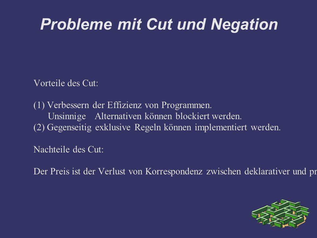 Probleme mit Cut und Negation Vorteile des Cut: (1) Verbessern der Effizienz von Programmen.