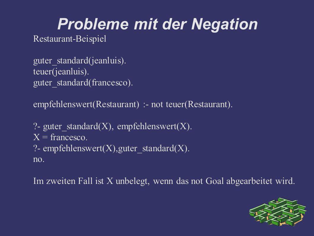 Probleme mit der Negation Restaurant-Beispiel guter_standard(jeanluis).