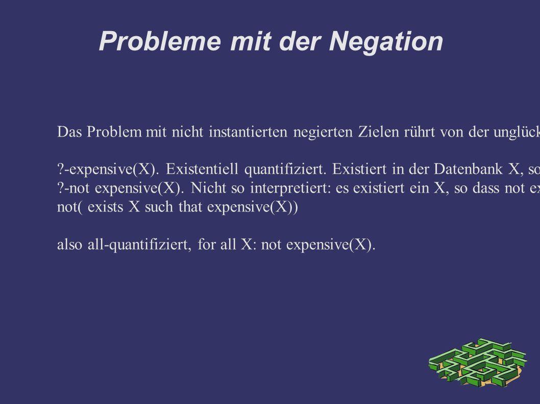 Probleme mit der Negation Das Problem mit nicht instantierten negierten Zielen rührt von der unglücklichen Quantifikation von Variablen im Konzept Negation als Failure her: -expensive(X).