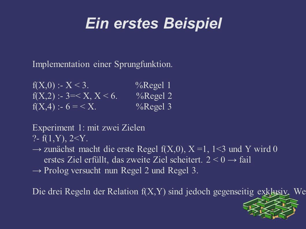 Ein erstes Beispiel Implementation einer Sprungfunktion.