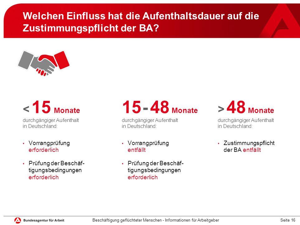 Seite 16 Welchen Einfluss hat die Aufenthaltsdauer auf die Zustimmungspflicht der BA? < 15 Monate durchgängiger Aufenthalt in Deutschland: Vorrangprüf