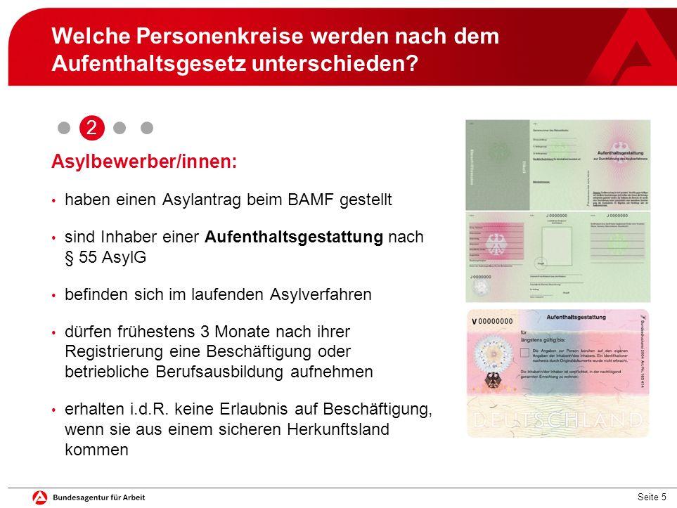 Seite 5 Welche Personenkreise werden nach dem Aufenthaltsgesetz unterschieden? Asylbewerber/innen: haben einen Asylantrag beim BAMF gestellt sind Inha