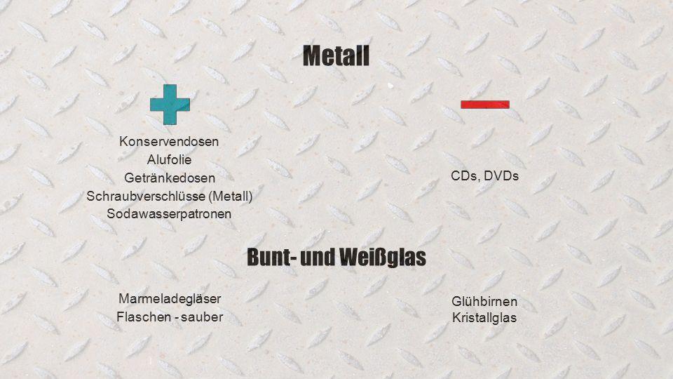 Metall Konservendosen Alufolie Getränkedosen Schraubverschlüsse (Metall) Sodawasserpatronen Bunt- und Weißglas Marmeladegläser Flaschen - sauber Glühbirnen Kristallglas CDs, DVDs