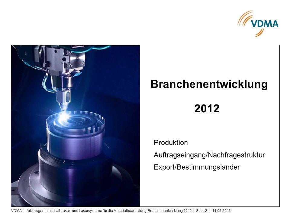 Pres segespräch Branchenentwicklung 2012 Produktion Auftragseingang/Nachfragestruktur Export/Bestimmungsländer VDMA | Arbeitsgemeinschaft Laser- und Lasersysteme für die Materialbearbeitung: Branchenentwicklung 2012 | Seite 2 | 14.05.2013