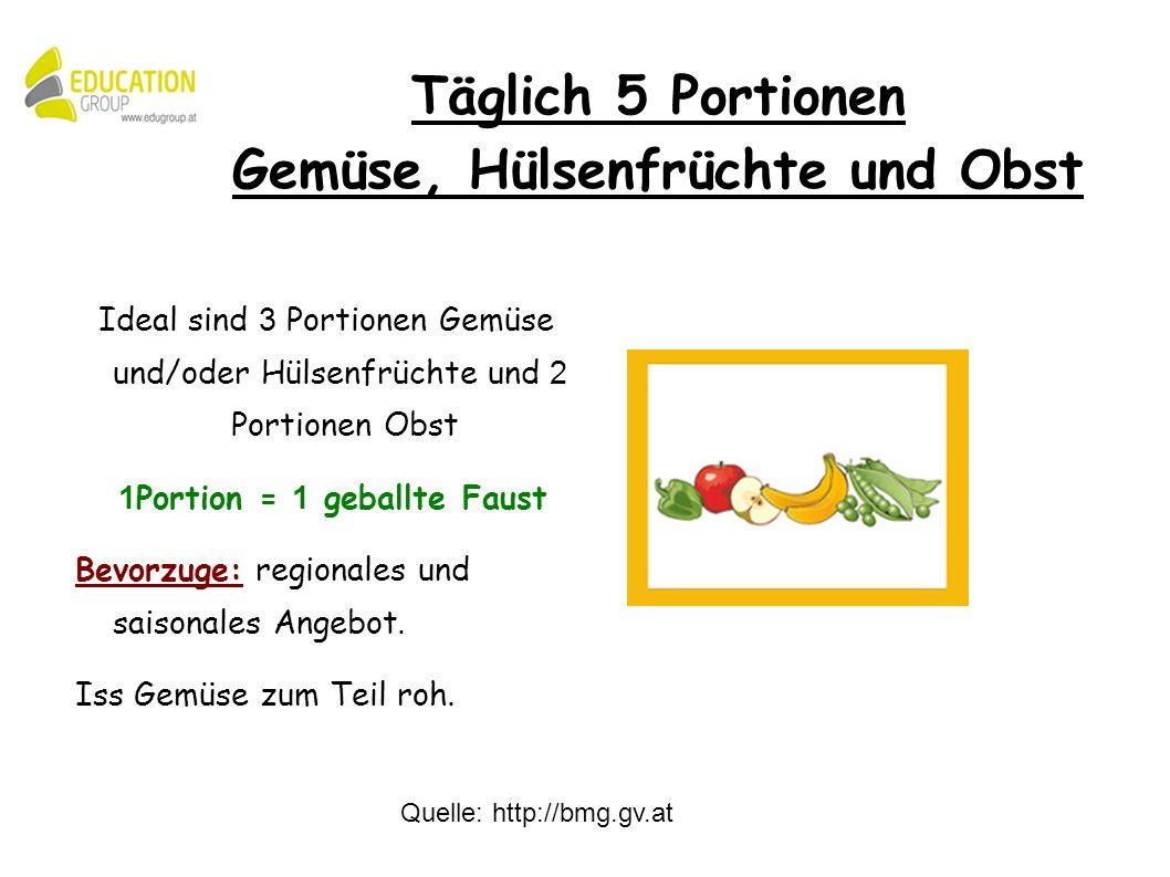Quelle: http://bmg.gv.at Ideal sind 3 Portionen Gemüse und/oder Hülsenfrüchte und 2 Portionen Obst 1 Portion = 1 geballte Faust Bevorzuge: regionales und saisonales Angebot.
