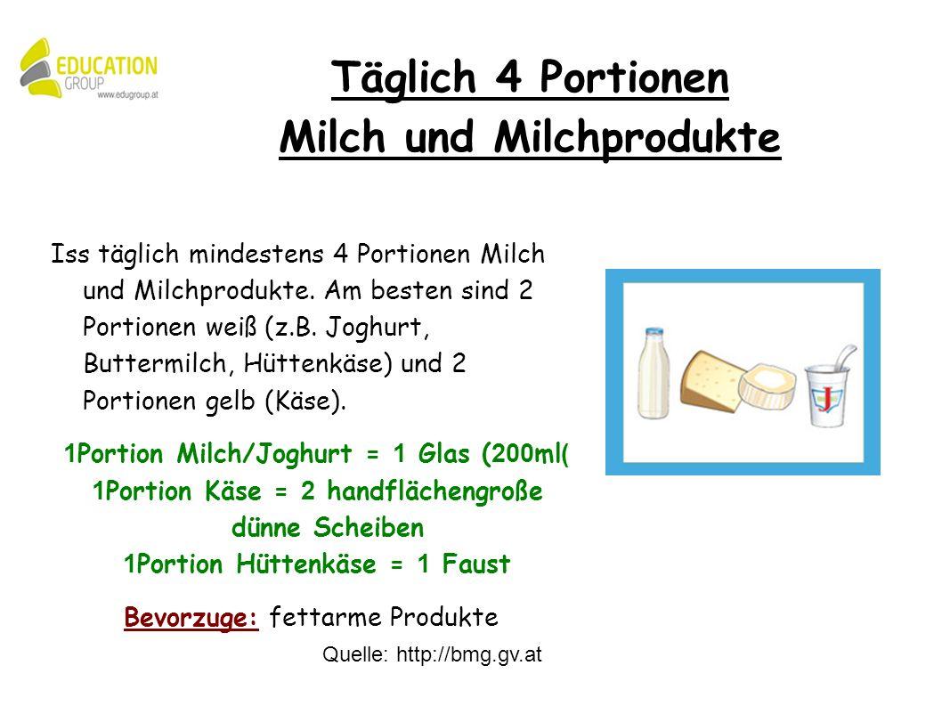 Quelle: http://bmg.gv.at Iss täglich mindestens 4 Portionen Milch und Milchprodukte.