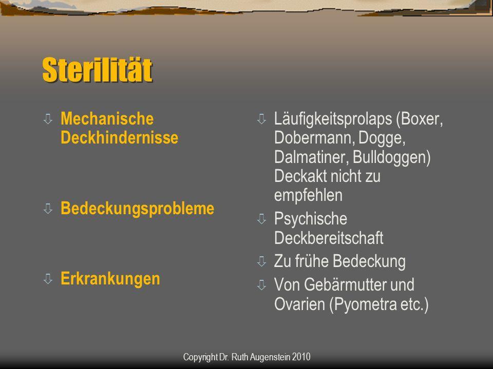Sterilität ò Mechanische Deckhindernisse ò Bedeckungsprobleme ò Erkrankungen ò Läufigkeitsprolaps (Boxer, Dobermann, Dogge, Dalmatiner, Bulldoggen) Deckakt nicht zu empfehlen ò Psychische Deckbereitschaft ò Zu frühe Bedeckung ò Von Gebärmutter und Ovarien (Pyometra etc.) Copyright Dr.