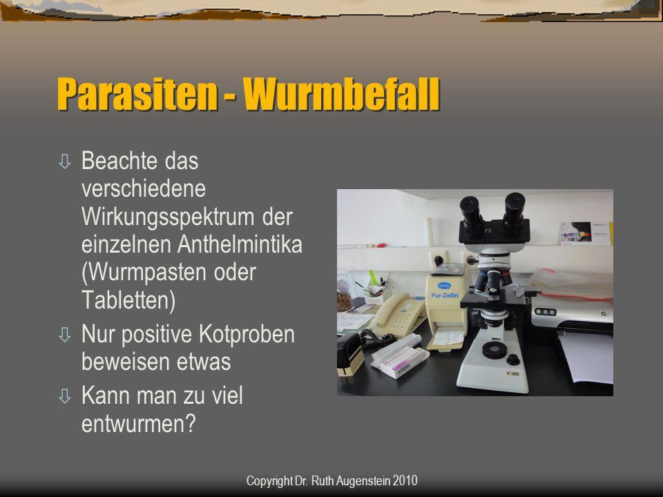 Parasiten - Wurmbefall ò Beachte das verschiedene Wirkungsspektrum der einzelnen Anthelmintika (Wurmpasten oder Tabletten) ò Nur positive Kotproben beweisen etwas ò Kann man zu viel entwurmen.
