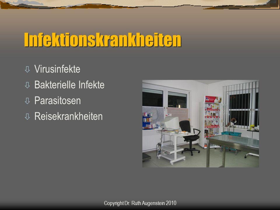 Infektionskrankheiten ò Virusinfekte ò Bakterielle Infekte ò Parasitosen ò Reisekrankheiten Copyright Dr. Ruth Augenstein 2010